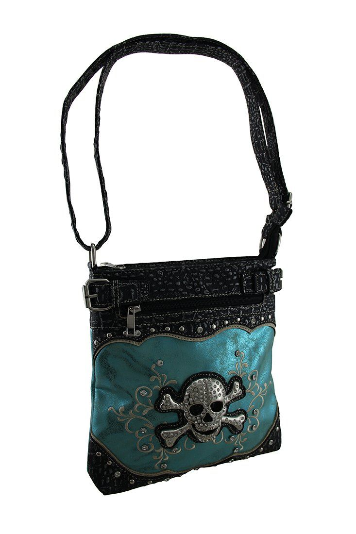 Rhinestone Skull Embroidered Foil Finish Concealed Carry Crossbody Purse