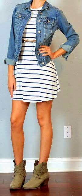 guest outfit post - striped dress, jean jacket, ankle boots