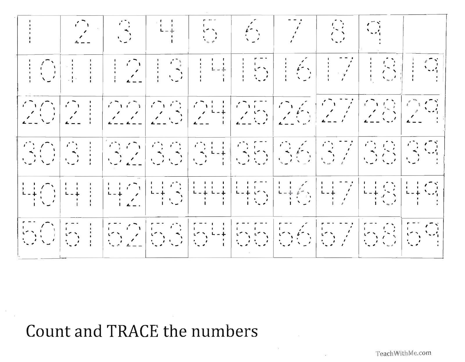 trace the number 159 worksheet Tracing worksheets