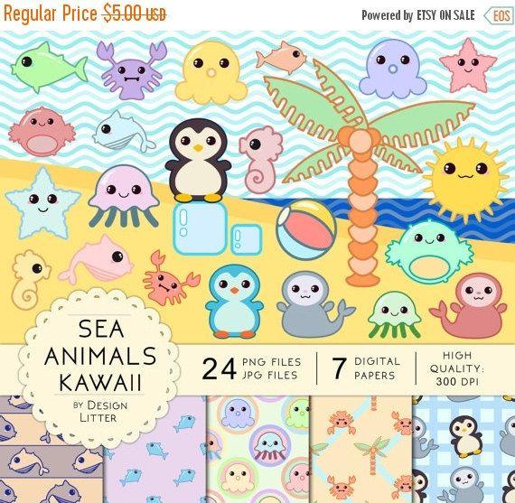 Related image | Kawaii, Kawaii clipart, Sea animals