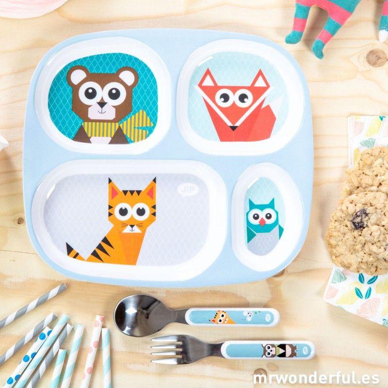 Set de plato y cubiertos infantiles de color azul, con cuatro compartimentos con divertidos animalitos #baby #things #plate #mrwonderfulshop
