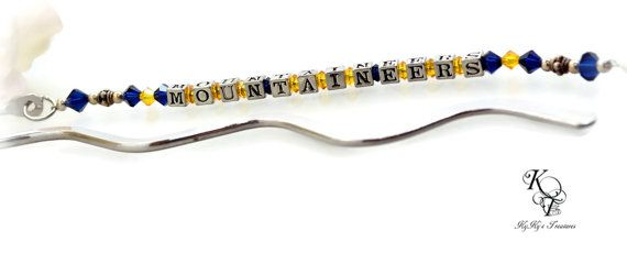 West Virginia Mountaineers, Mountaineers Bookmark, Mountaineers Gift, Mountaineers Accessories, Christmas Gift, Mountaineers Fan  Reading an actual book may almost be a thing of the past (must to my dismay), but a unique bookmark still makes a lovely gift. This is our WVU Mountaineers Bookmark made with Swarovski crystals and sterling silver Bali beads. #wvu #westvirginia #mountaineers #bookmark #etsygifts #football #sports