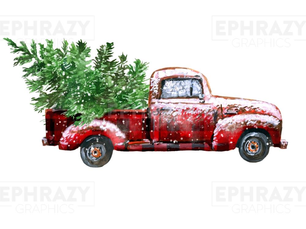Christmas Red Plaid Truck Tree Back Digital Png Plaid Christmas Christmas Truck Christmas Pillows