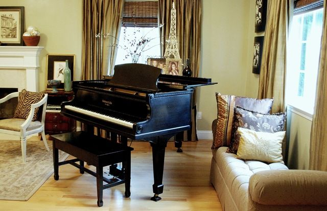 Narrow Bench Good Idea For Additional Seating In Small Living Rm W Grand Piano