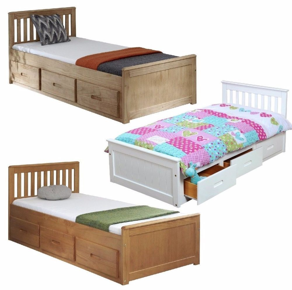 Childrens Wooden Bed Fresh 3ft Single Mission Storage Drawers