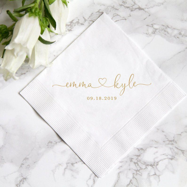 Personalized Wedding Napkins, Rehearsal Dinner, Engagement Party, Custom Bar Napkins, Custom Wedding Napkins - Destination Wedding #personalizedwedding