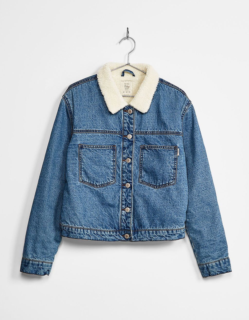 Denim jacket with fleece lining - Coats and jackets - Bershka Israel ... 05efb3f100