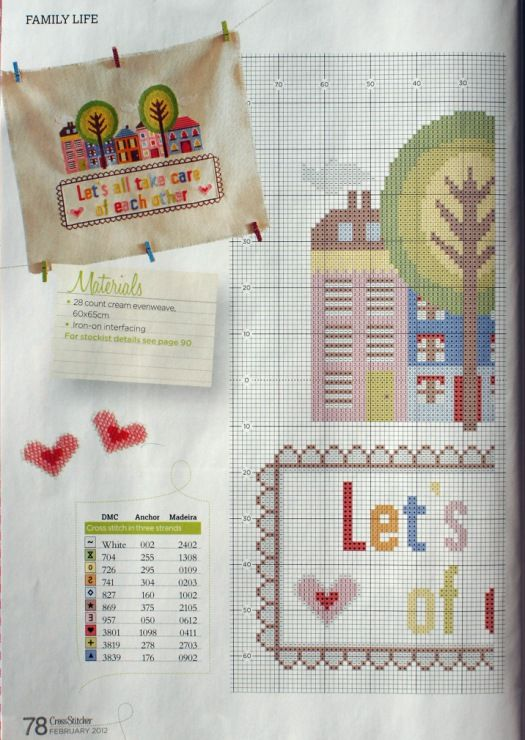 """""""Let's all take care of each other"""" by Emily Peacock, Cross Stitcher No. 249, February 2012"""