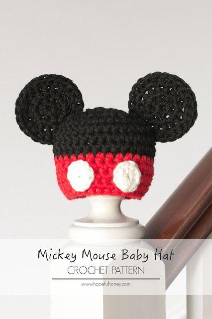 Newborn Mickey Mouse Inspired Hat Crochet Pattern | Pinterest