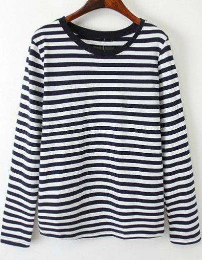 697d0d251d Camiseta rayas manga larga-blanco y negro