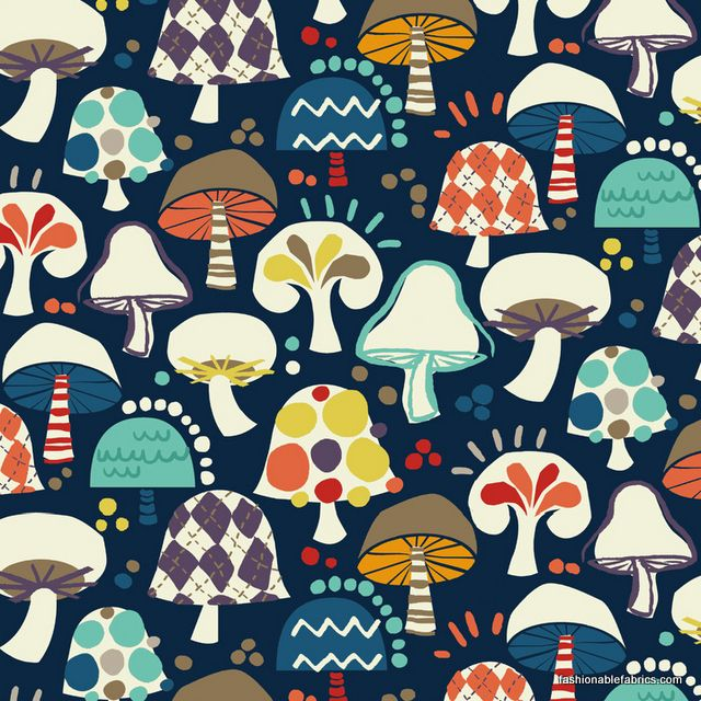 Free Mind Mushrooms on Navy by Hoodie for Newcastle Fabrics 882-3