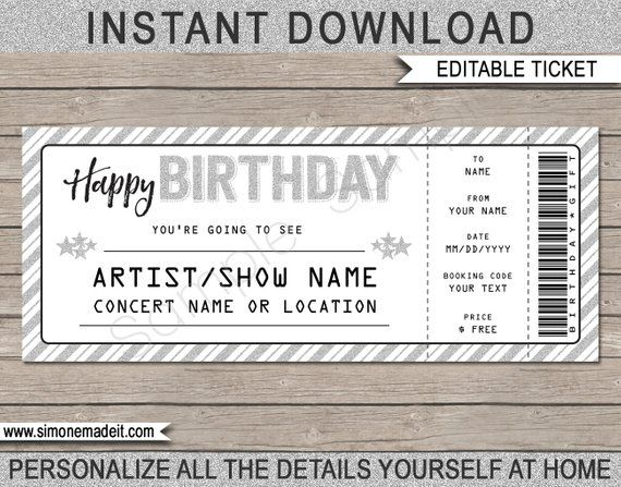 Birthday Gift Concert Ticket - Printable Gift Voucher, Certificate