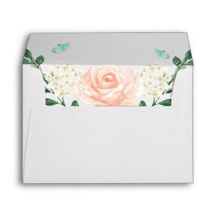 watercolor blush peach floral for 5x7 invitation envelope