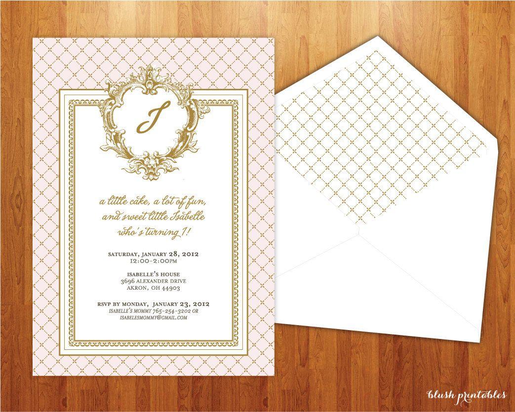 Vintage Shabby Chic First Birthday Invitation - 5x7 Printable DIY ...