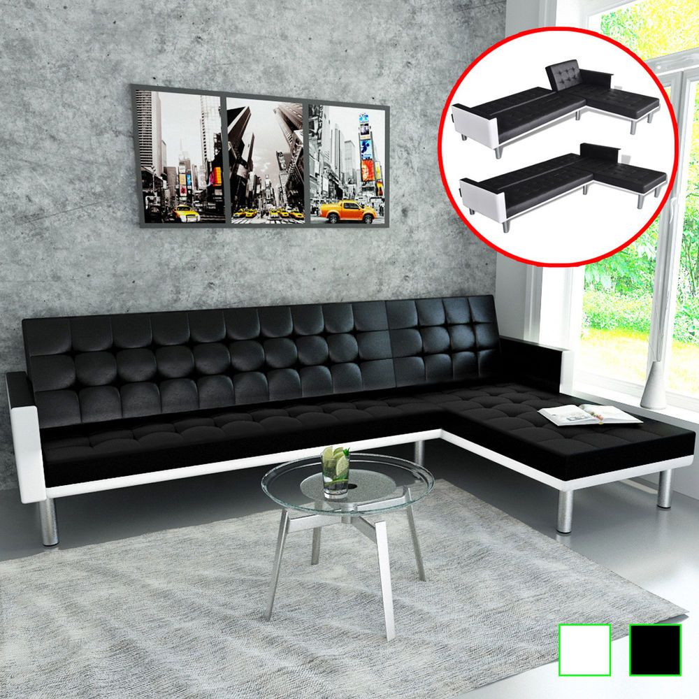 Amazing Details About Vidaxl L Shape Sofa Bed Artificial Leather Gamerscity Chair Design For Home Gamerscityorg