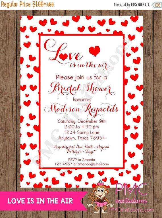 Love is in the air valentines bridal shower invitations 100 invitation wording stopboris Gallery