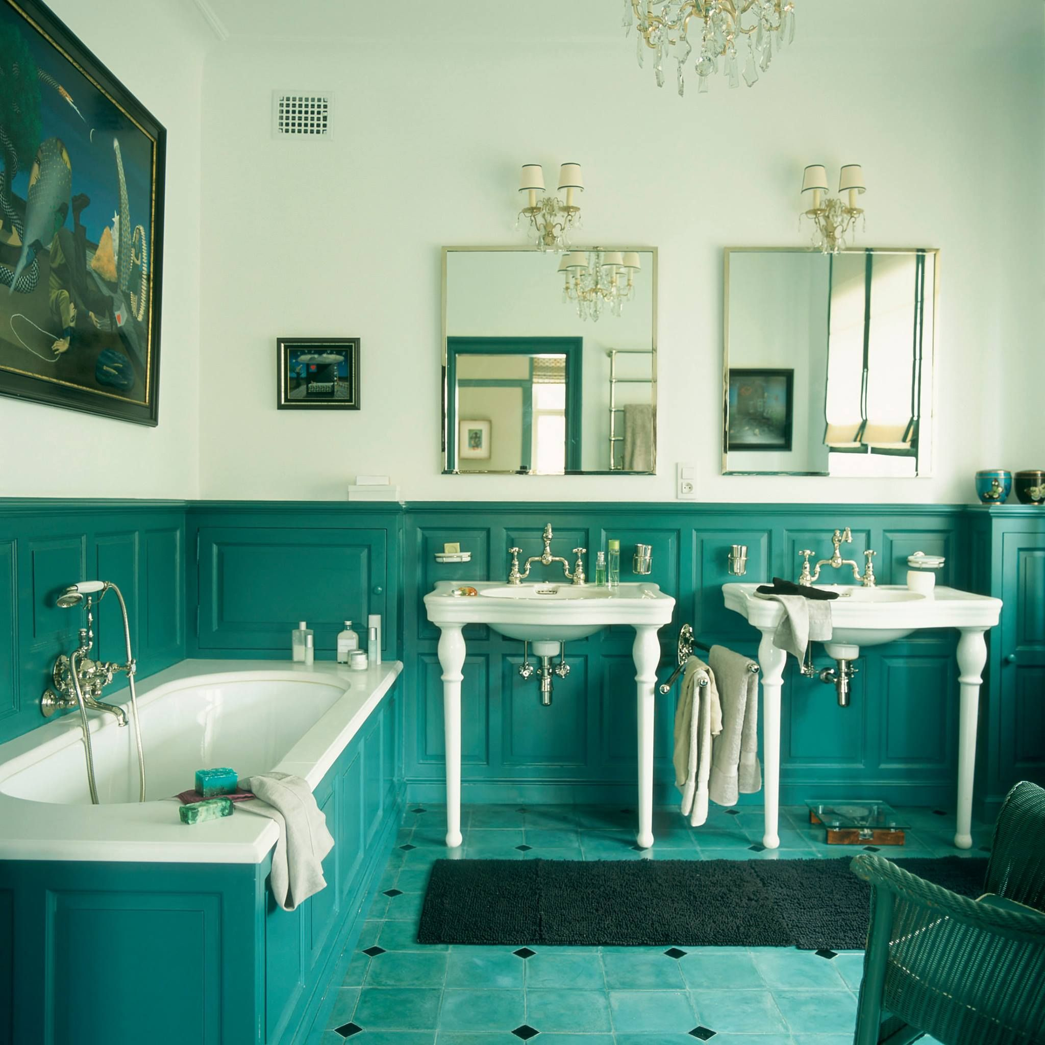 This antique Bathroom is really beautiful. The turquoise wooden wall ...