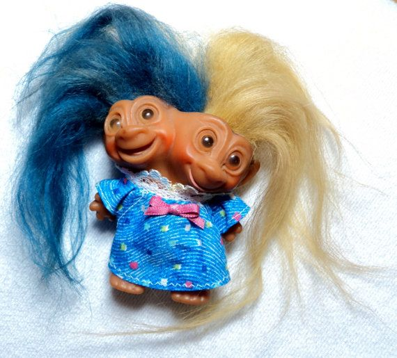 Black Troll Doll with Long Hair | ON SALE Vintage Uneeda 1965 DOUBLE Wishnick 2 headed Troll Doll