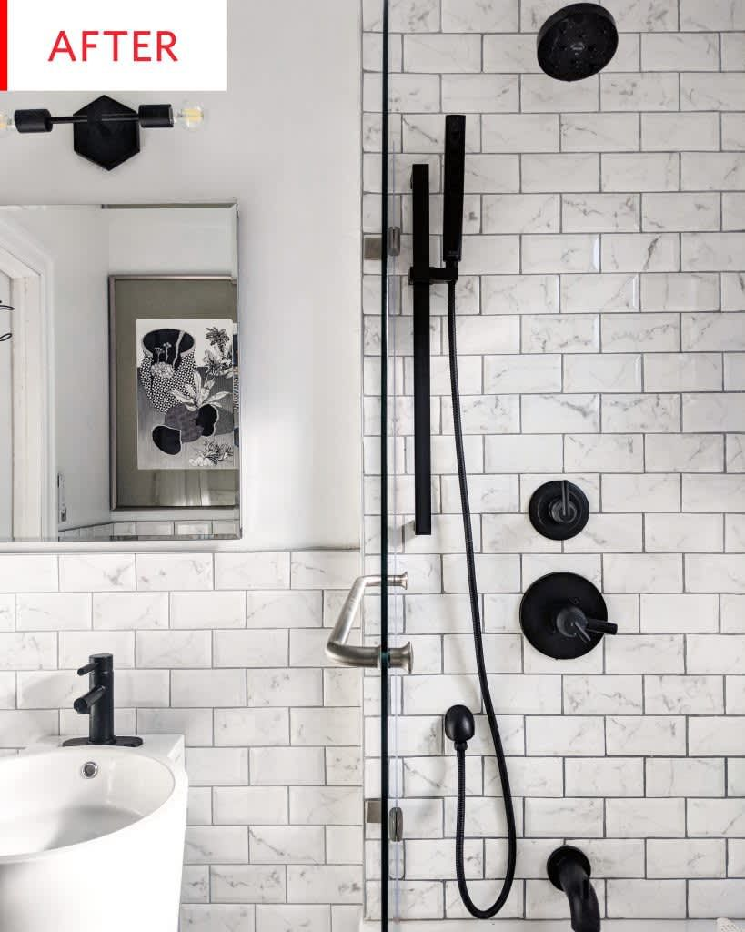 Before And After: A Tiny Bathroom Gets A $5,000 Black-and