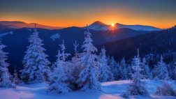 Winter Mountains Sunset Sky Cold Nature Forest Snow Clouds Ice Desktop Photo