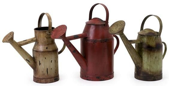 The Set Of 3 Decorative Watering Cans Are Made From Iron