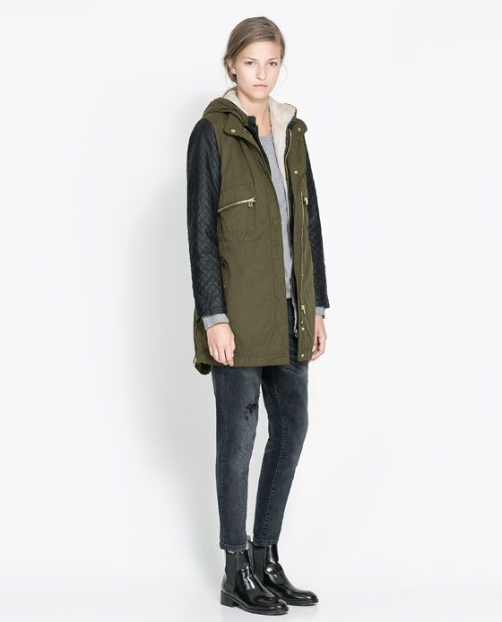 Image 1 of COMBINATION PARKA WITH FAUX LEATHER SLEEVES from Zara ...