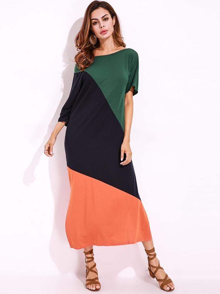 3c6f1029e81a6 Off Shoulder Loose Color Patchwork Side Split Shirt Dress at Banggood