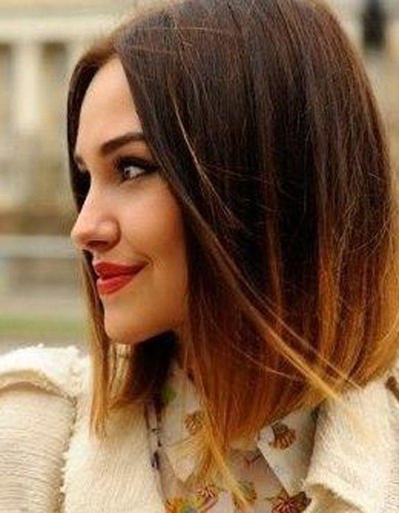 Ombre dip dye bob brunette 花发 pinterest hair hair styles