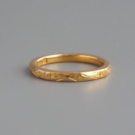 Antique Georgian Gold Ring 1815 English Bravingtons 22k Wedding Band