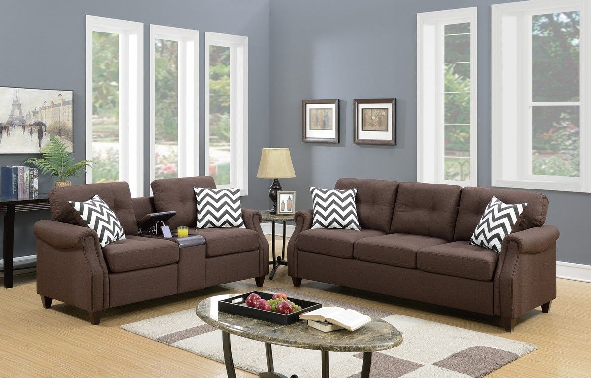 Beautiful 2 Piece Sofa Set In Dark Coffee Living Room Sets Sofa And Loveseat Set Sofa Set