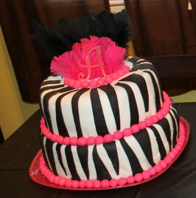 Hot pink and black zebra cake Zebra birthday ideas Pinterest