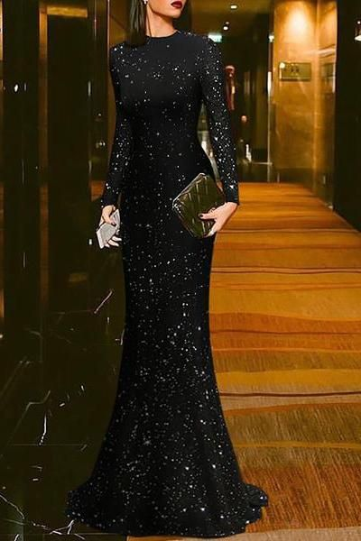 94ed4296bff Elegant Black Round Neck Evening Dress in 2019