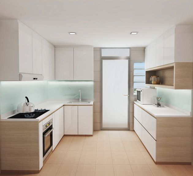 Kitchen Design Singapore white kitchen with kompacplus top and pops of colours #modern