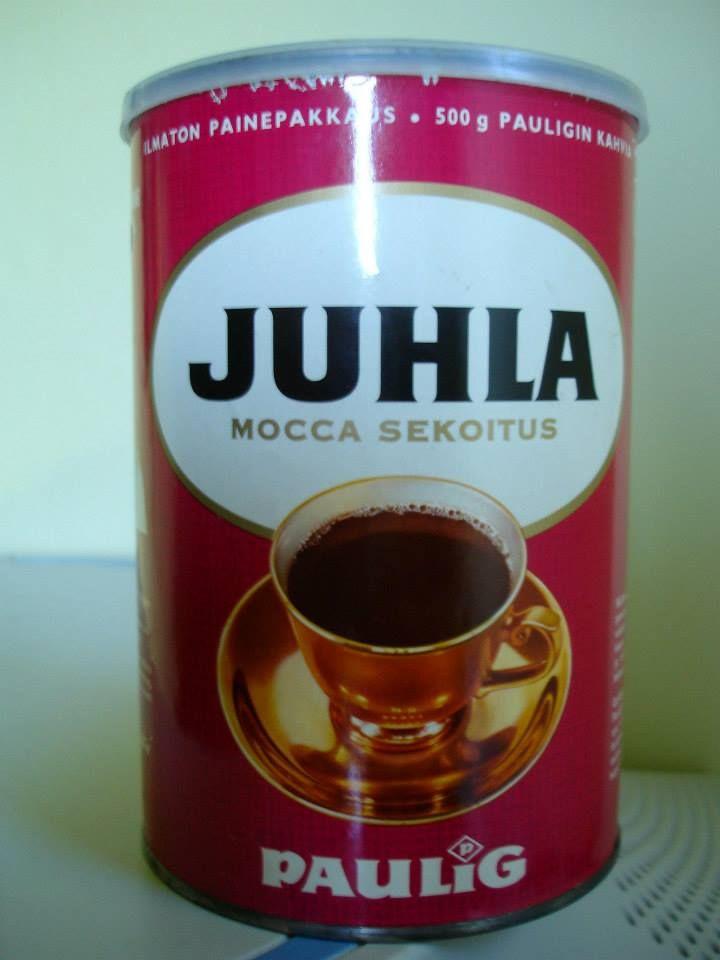 """""""Peltinen """"pyöreä"""" Pauligin Juhla Mocca kahvipakkaus, jossa jauhettu kahvi säilyi ilmattomassa tilassa hyvänä pitkään.""""  Lähettänyt: Sakari Sipilä"""
