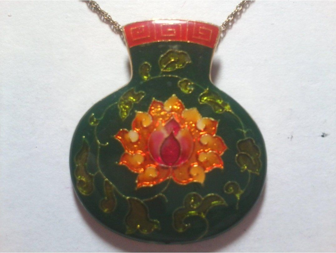 Httpsokanjoitemvintage Gilded Cloisonne Enamel Lotus Flower