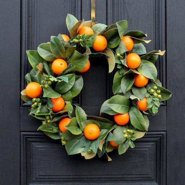 Photo of Citrus Orange Real Touch Magnolia leaf everyday decor spring wreath