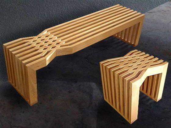 Mobilier en bois tiss de rush pleansuk architecture et nids for Mobilier en bois