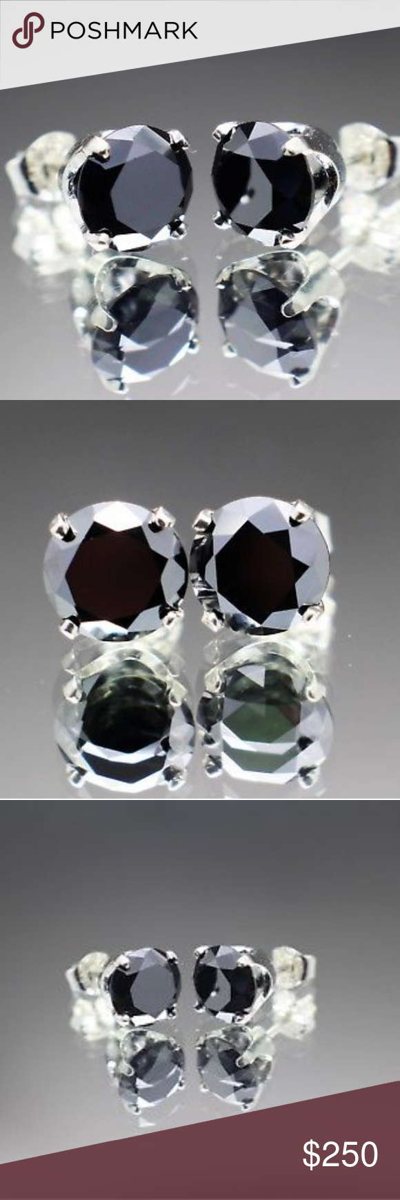 2.40cts Real Black Diamond Stud Earrings Brand new and
