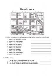 English worksheet: Prepositions of place-places in town