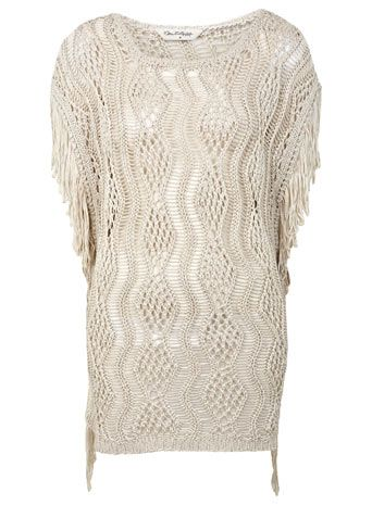 Cream Tape Fringe Cover Up - Knitwear - Apparel