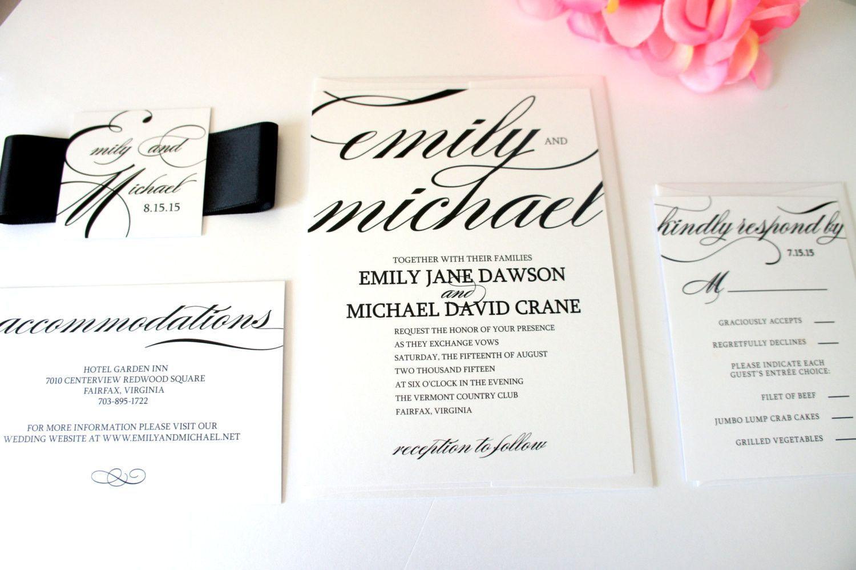 Calligraphy Wedding Invitation - SAMPLE SET   Unique wedding ...