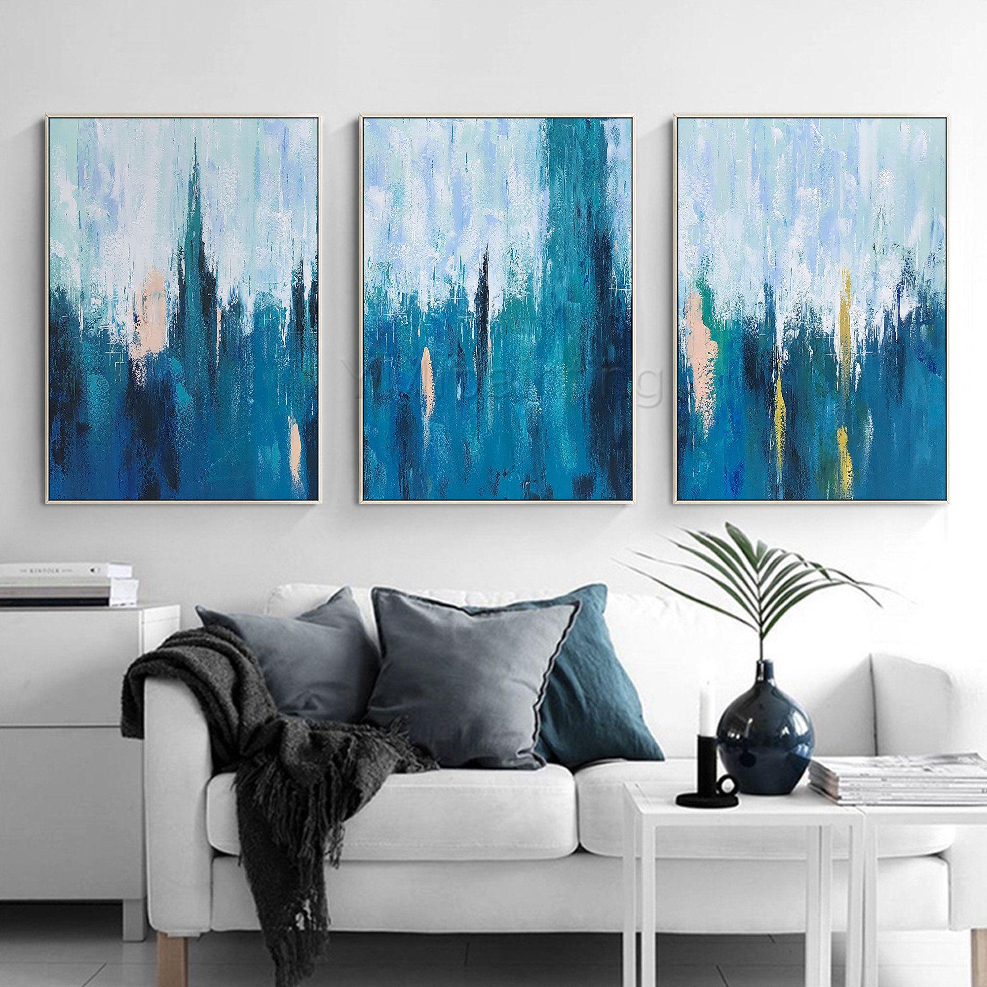 Set Of 3 Wall Art Blue Art Abstract Painting 3 Pieces Wall Art Etsy Blue Abstract Art Etsy Wall Art Blue Art