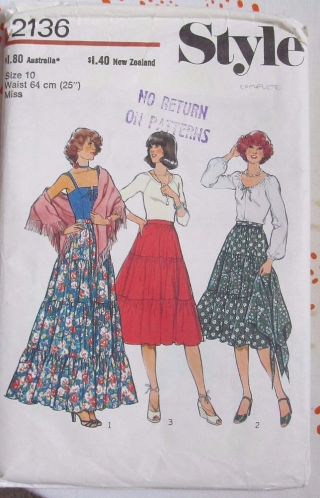 Vintage Style sewing pattern 2136 waist 25 complete 70s skirt ...