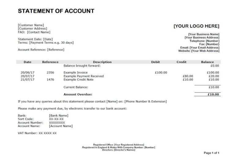 Example Of A Debtor Statement Of Account  Document Templates