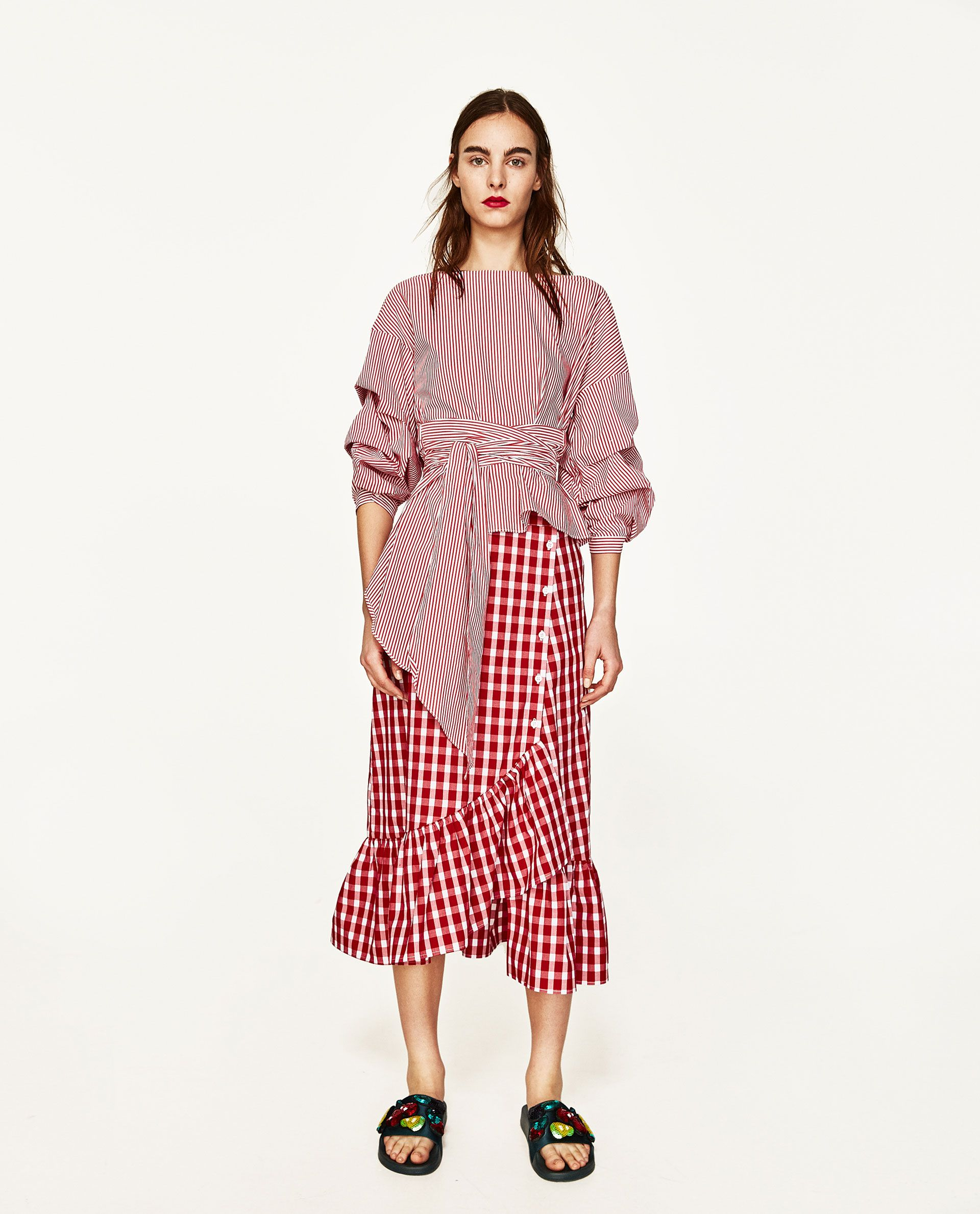 ZARA - WOMAN - GINGHAM FRILLED SKIRT Zara Outfit, Spring Fashion 2017,  Gingham Skirt b3eec856399