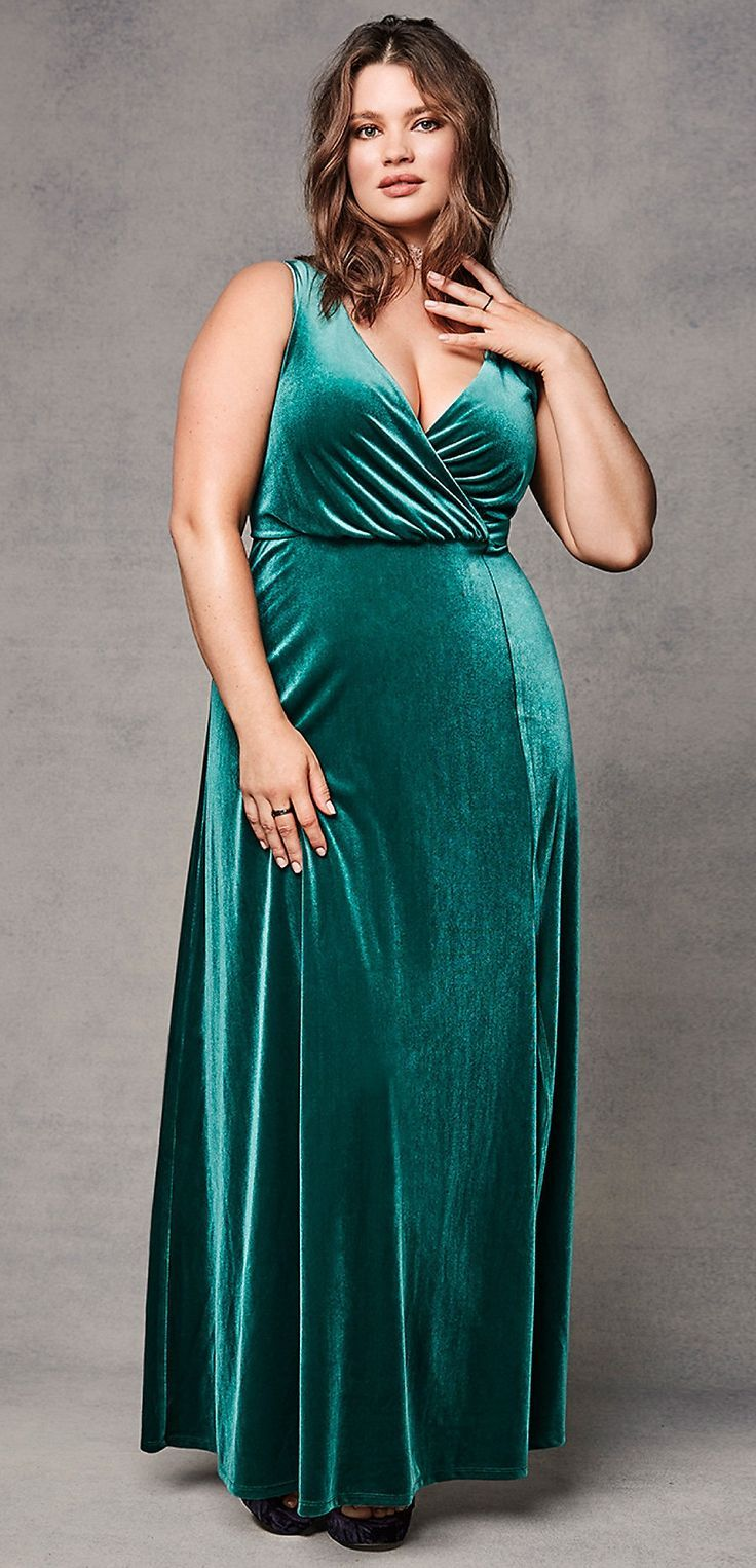 Plus Size Velvet High Slit Maxi Dress | Plus Size Fashion ...