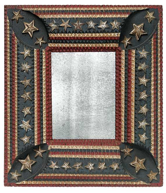 """Carved and painted """"American Flag"""" tramp art frame....so love this ..."""