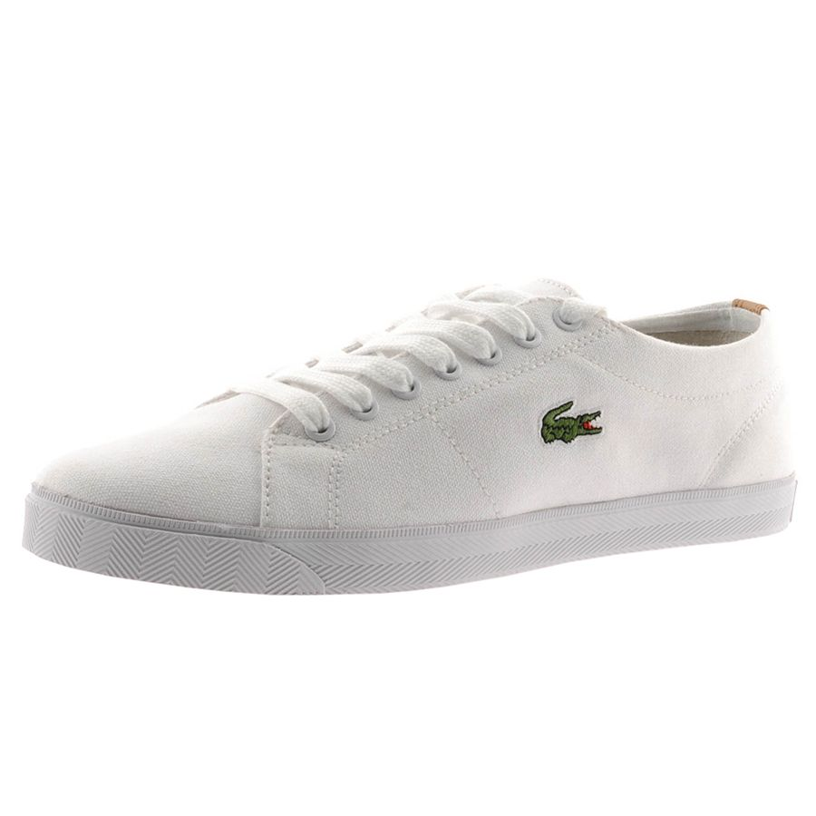 67185a920eb97 LACOSTE MARCEL EOS CANVAS TRAINERS FOR MEN IN WHITE WHITE - Footwear -  MelMorgan Sports