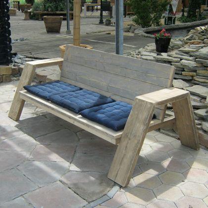 Steigerhout Bank \u0027Jutter\u0027, modern en trendy! Kijk vooral eens op www - como hacer bancas de madera para jardin