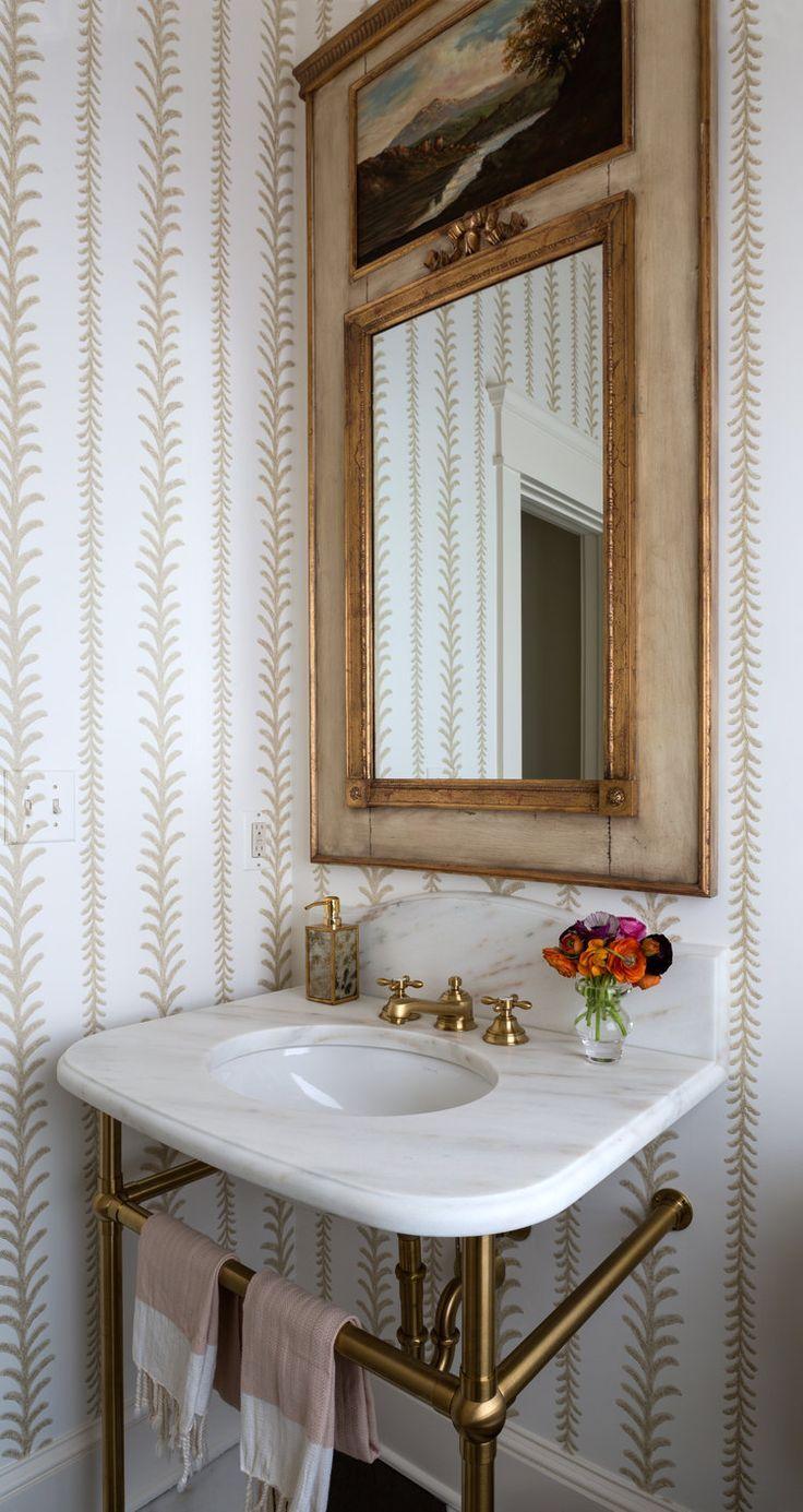 vintage inspired bathroom design // vine striped wallpaper